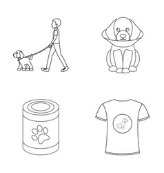 Walk man protection collar fooddog set vector