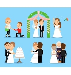 Wedding party characters vector image