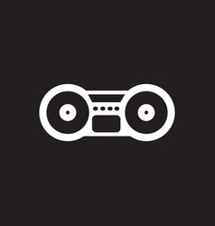 white icon on black background musical vector image