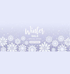 winter sale offersnowfall frame with sale text vector image