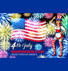 Woman salute firework with usa flag july 4th vector