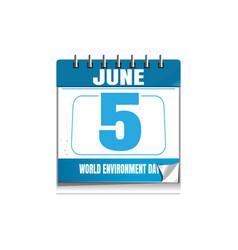 world environmental day blue wall calendar 5 june vector image
