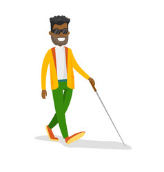 Young african-american blind man with a stick vector