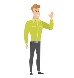 Young caucasian businessman waving his hand vector