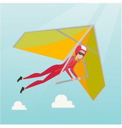 Young caucasian woman flying on hang-glider vector