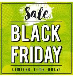Black friday sale banner on green patterned backgr vector