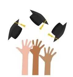 Graduation cap and hand icon University design vector image