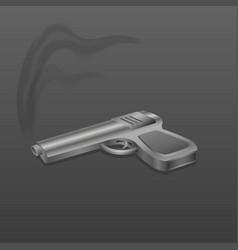 gun with smoke on dark background vector image