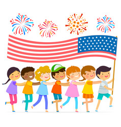 kids with the american flag vector image vector image