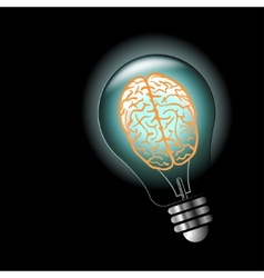 Luminous idea light bulb with brain inside vector image