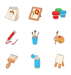 Paint drawing icons set cartoon style vector