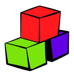 three colored cubes icon icon cartoon vector image