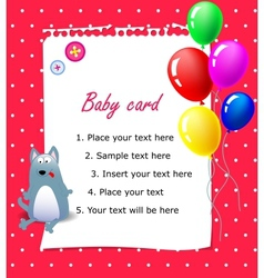 Baby Happy birthday card pink vector image vector image