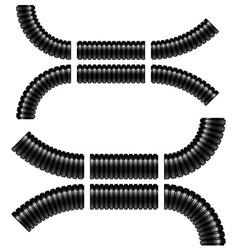 black corrugated flexible tubes vector image