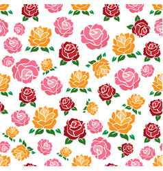 colorul roses seamless pattern vector image vector image