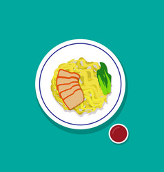 dry egg noodle soup with red roast pork top view vector image vector image