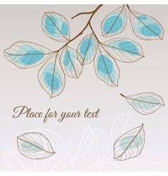 Linden leaf blue style with place for your text vector image vector image