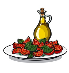 salad with basil vector image vector image