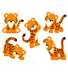 set of cute cartoon tigers vector image vector image