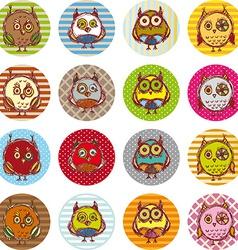 Set of funny owl sketch doodle vector image