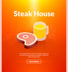 steak house poster of isometric color design vector image