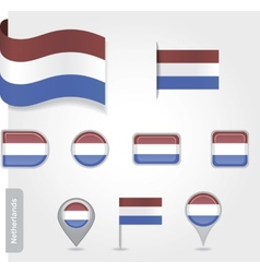 The Netherlands flag - set of icons and flags vector image vector image