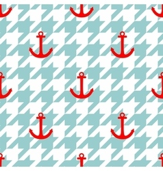 Tile sailor pattern with red anchor on houndstooth vector