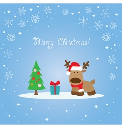 Blue Christmas card with reindeer vector image