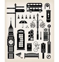 London city street icon set vector image vector image