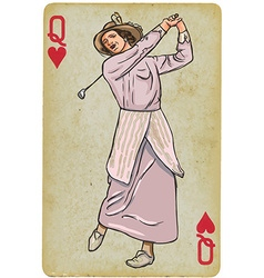 Playing Card Queen - Vintage Golfer an woman vector image