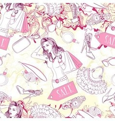 Seamless pattern with surprised woman and fashion vector image vector image