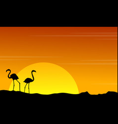 silhouette of flamingo on orange sky landscape vector image vector image