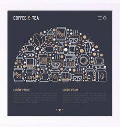 coffee and tea concept in half circle vector image vector image