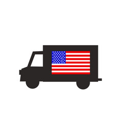 delivery truck icon with american flag vector image