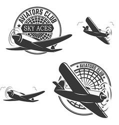 Set of aviators club labels vector image