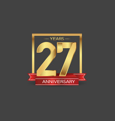 27 years anniversary logo style with golden vector