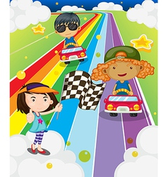 A car race at the colorful road vector