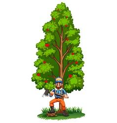A lumberjack under tall tree vector