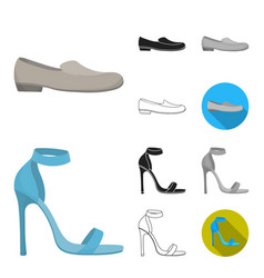 a variety of shoes cartoonblackflatmonochrome vector image