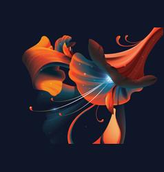 Abstract artistic flower on dark vector