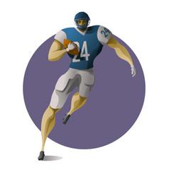 American football halfback carrying ball vector