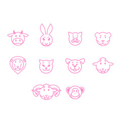 Animals set pink outline simple style vector