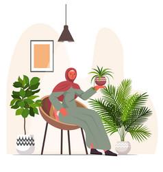 arab woman taking care houseplants living room vector image