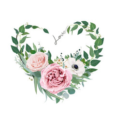 art floral heart shape love watercolor bouquet vector image