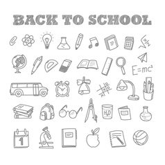 Back to school doodles Education elements clip-art vector