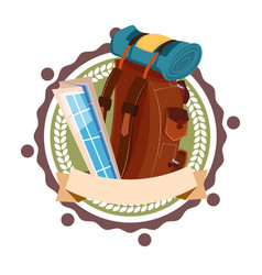 backpack travelling icon retro style isolated vector image