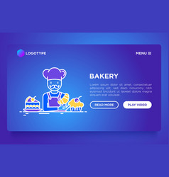 bakery concept baker with croissant and cupcakes vector image