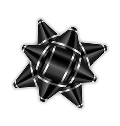 Black bow ribbon 3d decor element package shiny vector