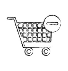 blurred silhouette shopping cart and minus sign vector image
