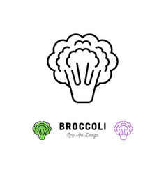 broccoli icon vegetables logo thin line art vector image